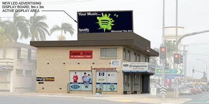 WITHDRAWN: An artist's impression of the former proposed rooftop sign at 270 Bourbong St, Bundaberg West.