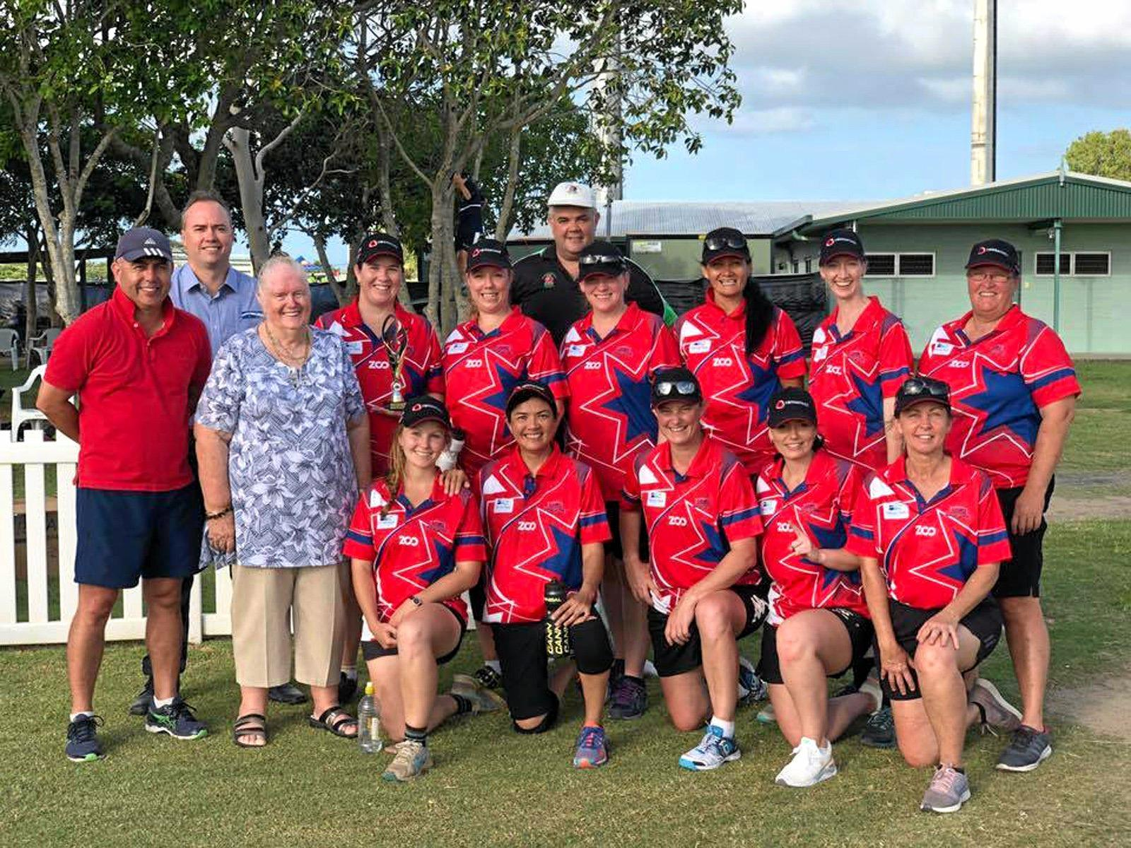 Tracee Williamson (front, third from right) with the successful women's Country cricket side who beat City at Harrup Park.