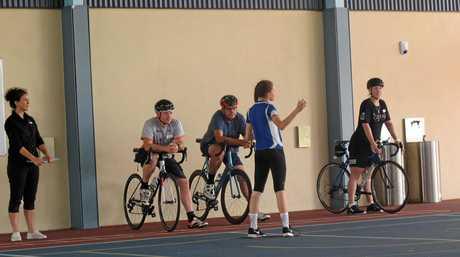 Sara with Presenter Tori Waerner - Cyclists From left to right - Tom Waerner, Michael Brady, Stephanie Hopes.