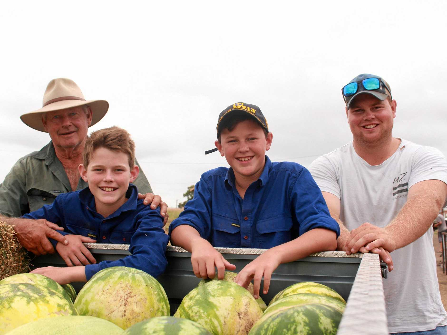 Lachlan and Harry McLaren love working on the land with their uncle Mitchell Duff and grandfather Malcolm Duff.