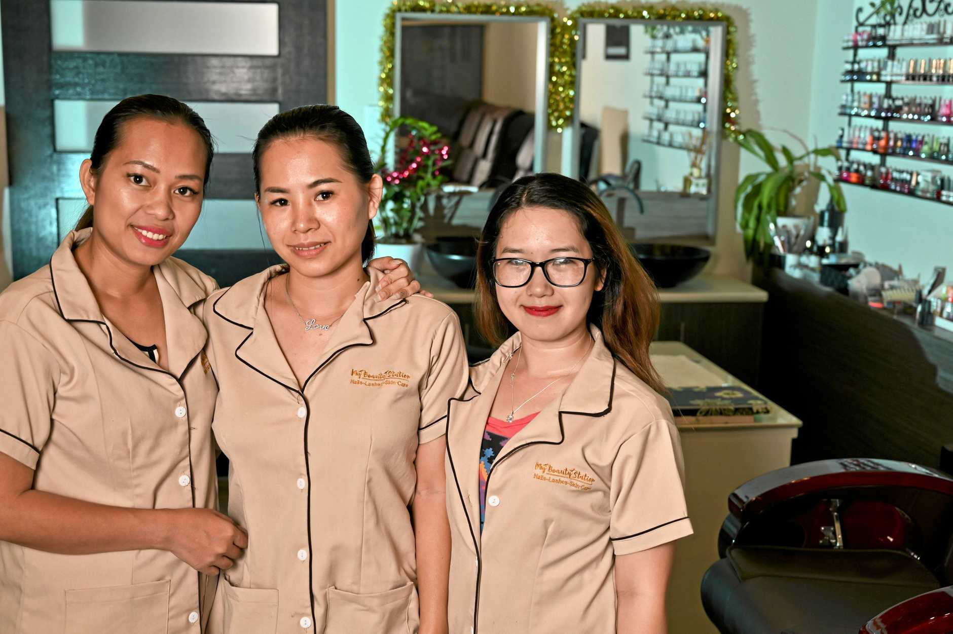 BUSINESS IS GOOD: Amy Pham, Thythy Nguyen and Quynh Kendall from My Beauty Station in Raceview. They plan on opening their second business in Karalee in May.