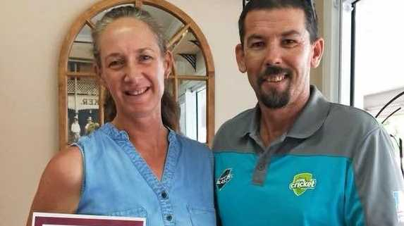 RECOGNITION: Leanne Sippel is awarded Wide Bay December Volunteer of the Month by Daniel Drew from Queensland Cricket.