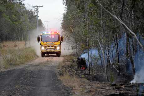 A truck heads to command point to battle the northern flank of the Takura fire.