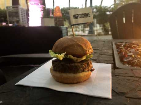 An Impossible Burger 2.0 slider at the launch of the company's new recipe. The plant-based imitation beef tastes like meat and is on its way to Australia.