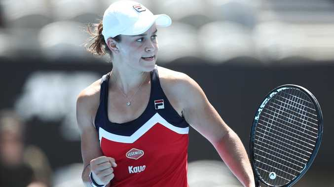 Ash Barty celebrates after hitting a winner. Picture: Getty