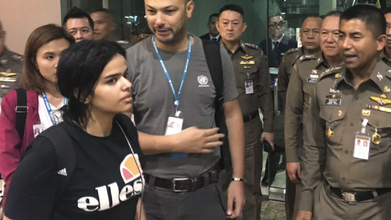 The young woman gained tens of thousands of Twitter followers within hours of her detention while trying to fly from Thailand to Australia. Picture: Immigration police via AP