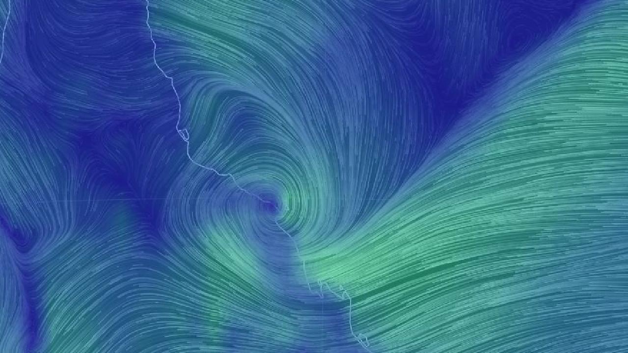 Ex-tropical cyclone Penny is just off the Queensland coast. Picture: Earthschool.