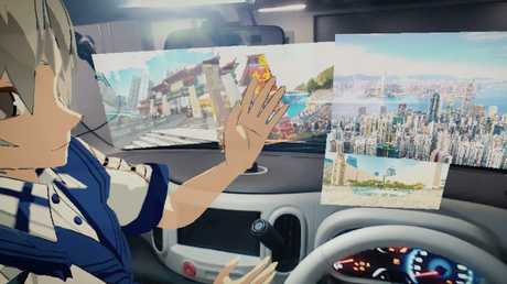 Nissan invisible to visible technology envisages having cartoon characters as company on trips.