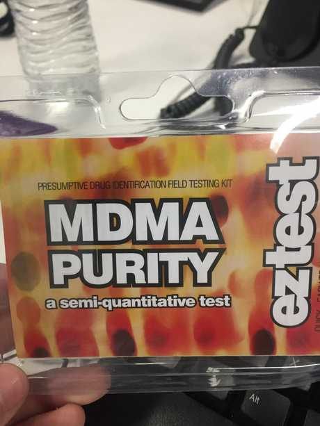 An MDMA purity test kit found at aa store at Kings Cross. Picture: Derrick Krusche
