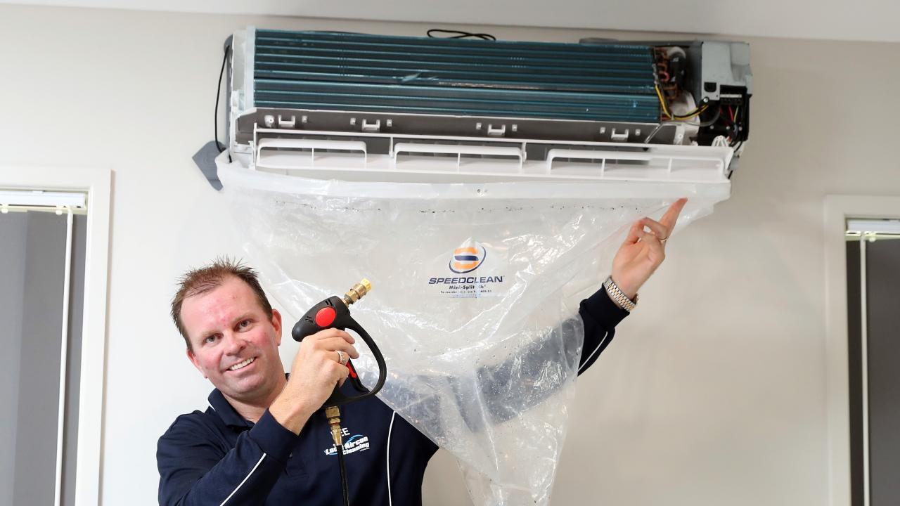 Lee Castle started his new business after noticing a hole in the market and a demand for air conditioner cleaners. Photo: Richard Gosling