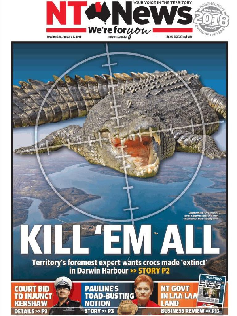 Tuesday's NT News front page