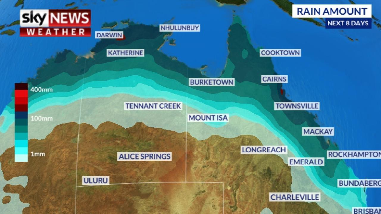 Heavy rainfall is expected across northern Australia as the tropical low heads inland. Picture: Sky News Weather.