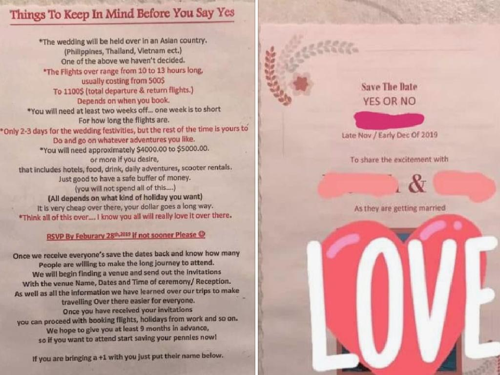 This bride's wedding invitation has been ridiculed after it was leaked online. Picture: Supplied