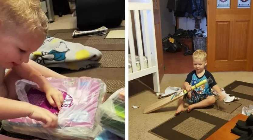 Tyler opening some of his birthday presents last year when he turned three. Source: Madeline Cox