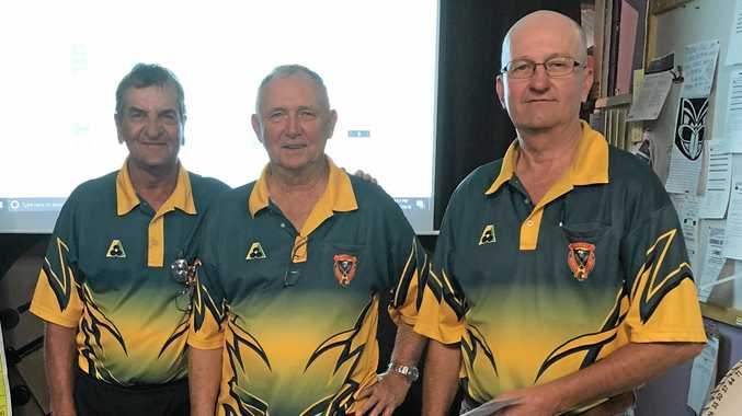 WINNERS: Bill Ervine, Graeme Clarke and Jeffery Cobbin took out first place at the Emerald Bowls Club's recent special tournament.