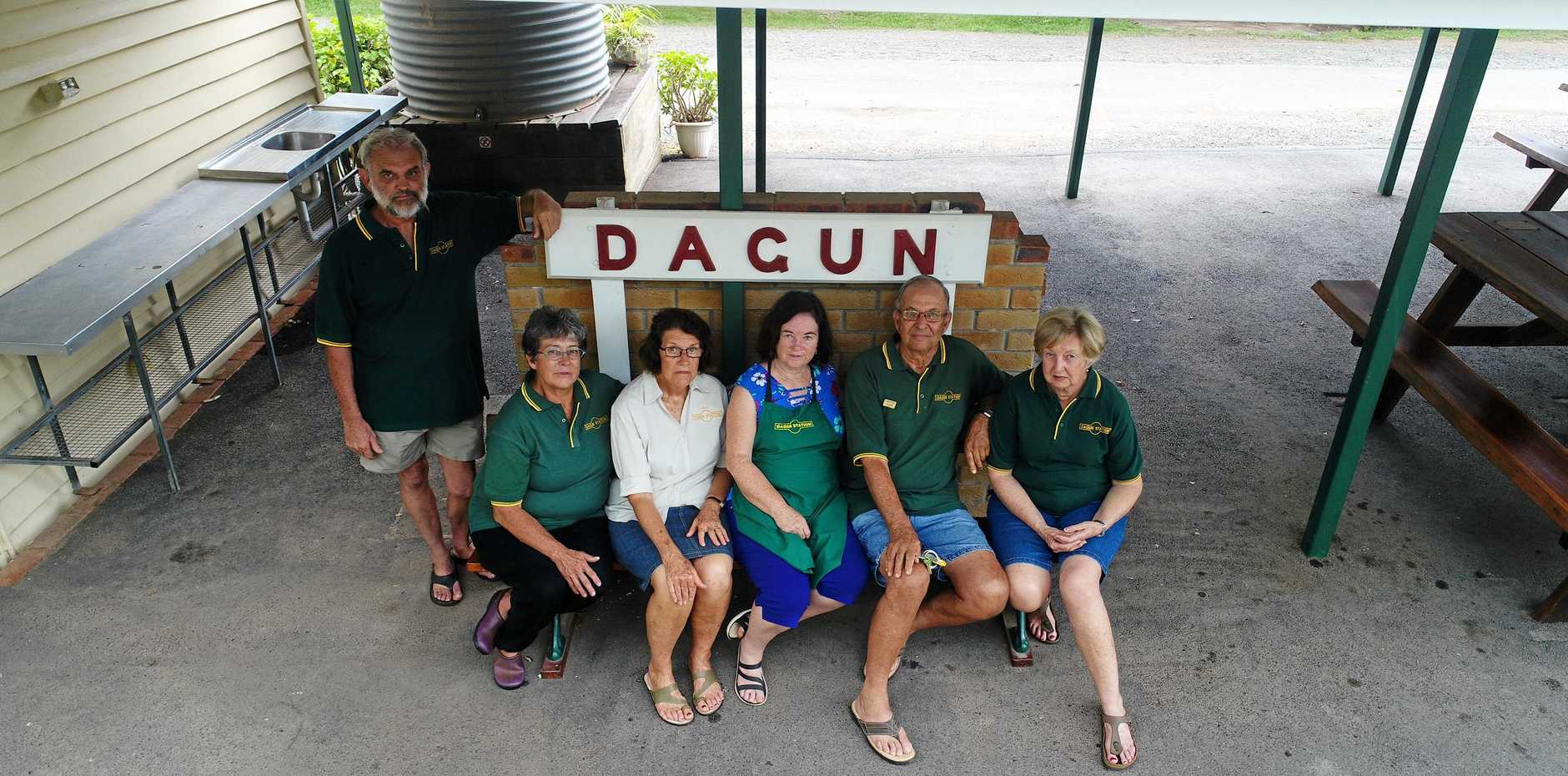 DAGUN DISCONTENT: Trevor Armstrong, Elaine Bradley, Sue Ferris, Sheila Kath, Geoff and Narelle Harvey are not satisfied with their treatment by the Rattler Railway Company or its official explanation.