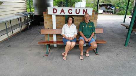 Dagun railway members volunteers Sue Ferris and Geoff Harvey.