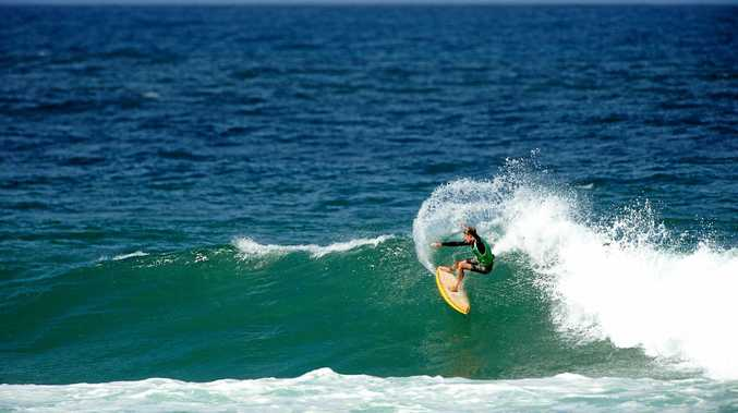 FINE FIN-ISH: Angourie surfer Dakoda Walters carves back on a wave during the annual Burleigh Head Boardriders Single Fin Festival at the weekend.