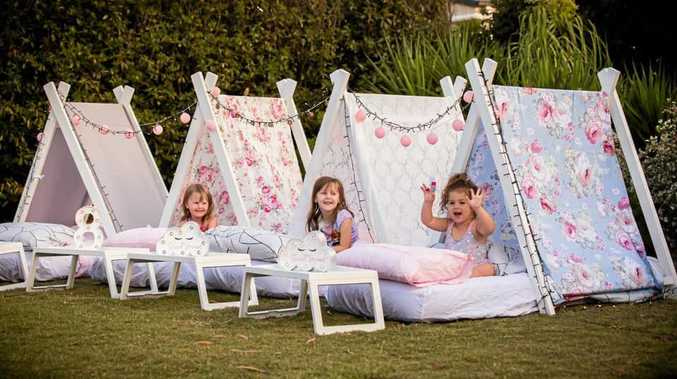 SWEET IDEA: Enjoying a teepee slumber party are (from left) Imogen and Alyssa Hinrichsen with Lily Porter.