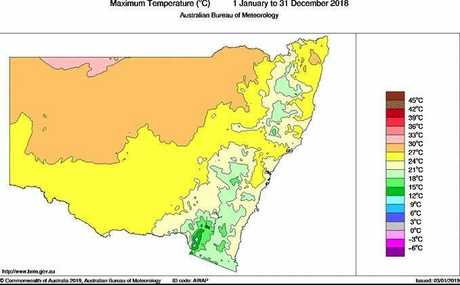 Mean daily maximum temperatures for NSW in 2018.