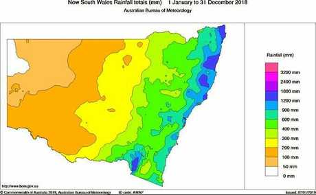 Total rainfall observed in NSW during 2018.