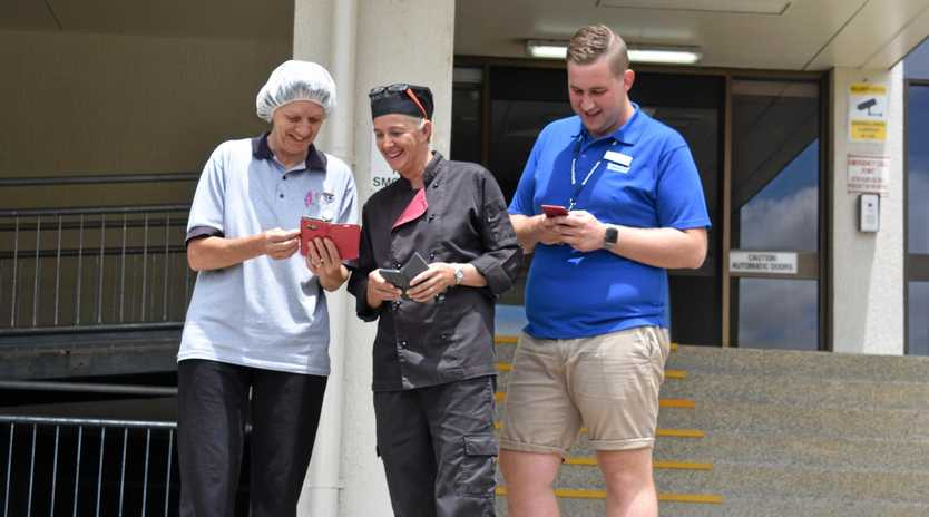 FREE FOR ALL: Linda Schefe, Toni Cant and Stuart Batterham enjoy free wi-fi, now available at South West Hospitals and Health Services facilities.