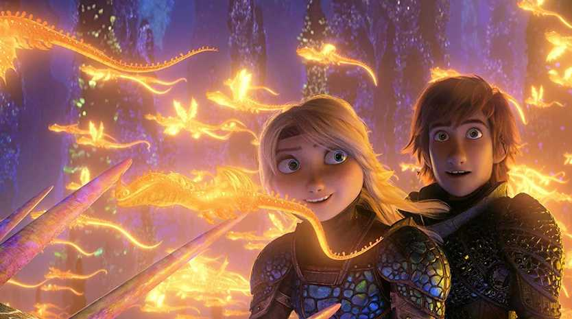 Jay Baruchel and America Ferrera in How to Train Your Dragon: The Hidden World.