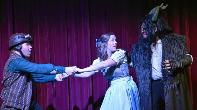 DRAMA:  Maurice (Luke Mulder), Belle (Emily Pirlo) and The Beast (Max Foggon) in Ballina Player's production of Beauty and the Beast.