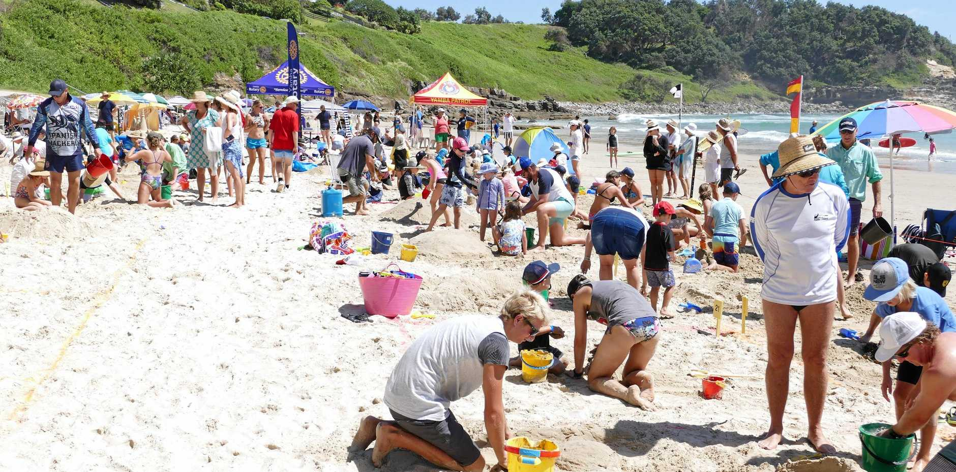 About 35 teams entered Sunday's Yamba Lions Club family fun day sandcastle competition at Main Beach Yamba.