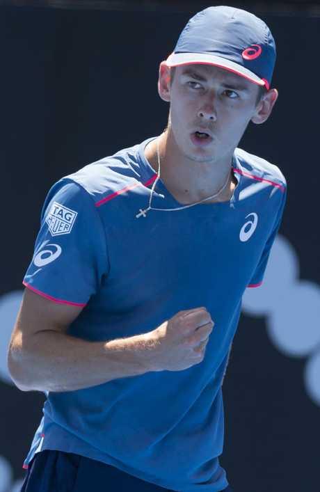 Alex de Minaur has a fan in Roger Federer. Picture: Craig Golding/AAP