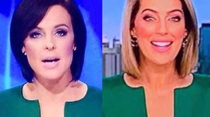 Newsreaders Natarsha Belling and Samantha Heathwood wearing the 'penis-shaped' jacket.