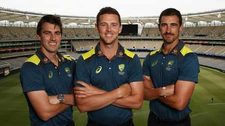 Pat Cummins, Josh Hazlewood and Mitchell Starc have all been rested after a gruelling summer. Picture: Getty