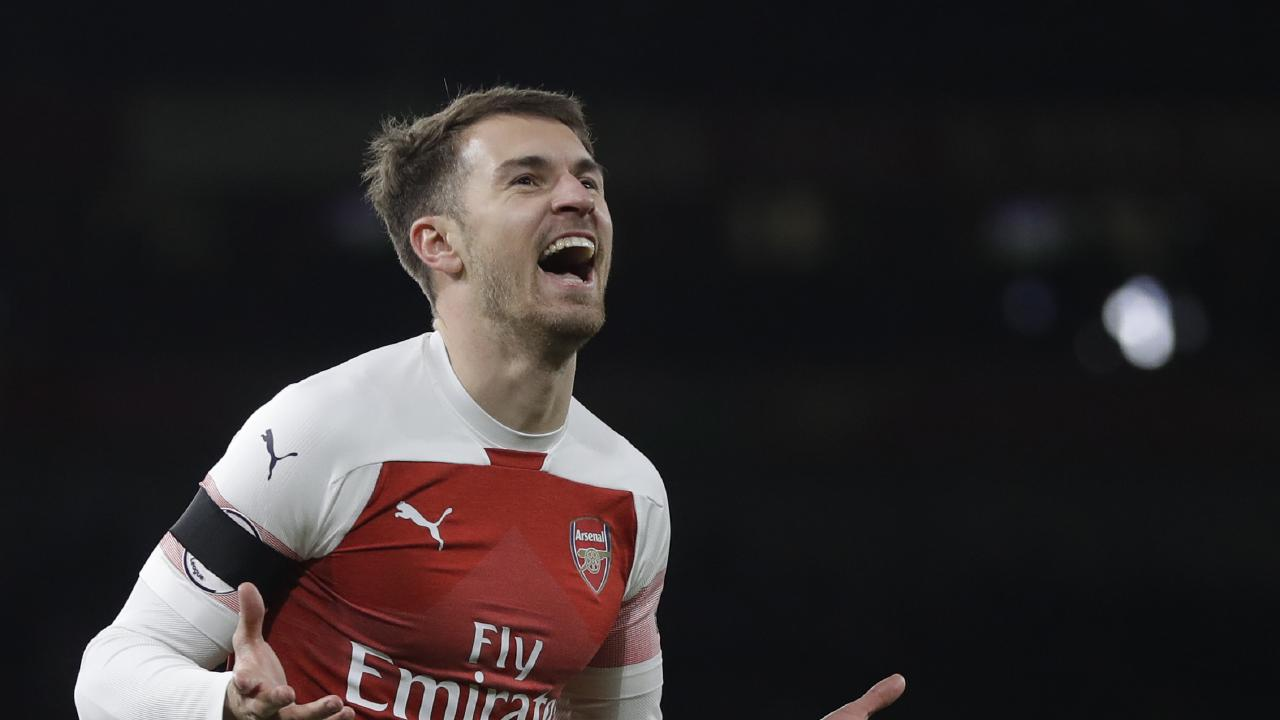 Arsenal's Aaron Ramsey celebrates after scoring
