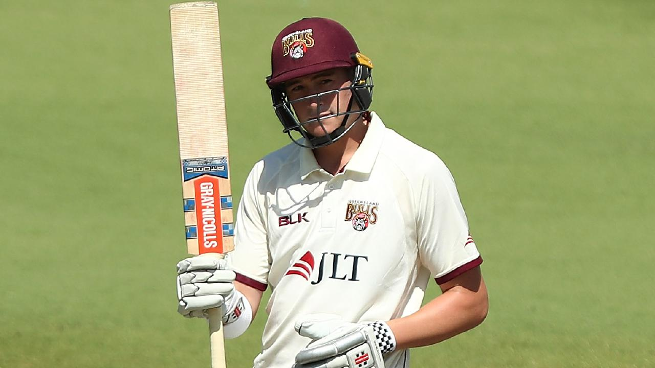 Matthew Renshaw celebrates a 50 for Queensland.