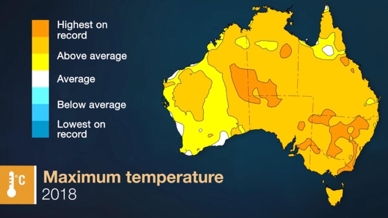 Parts of Australia had their highest ever temperatures. Picture: BOM