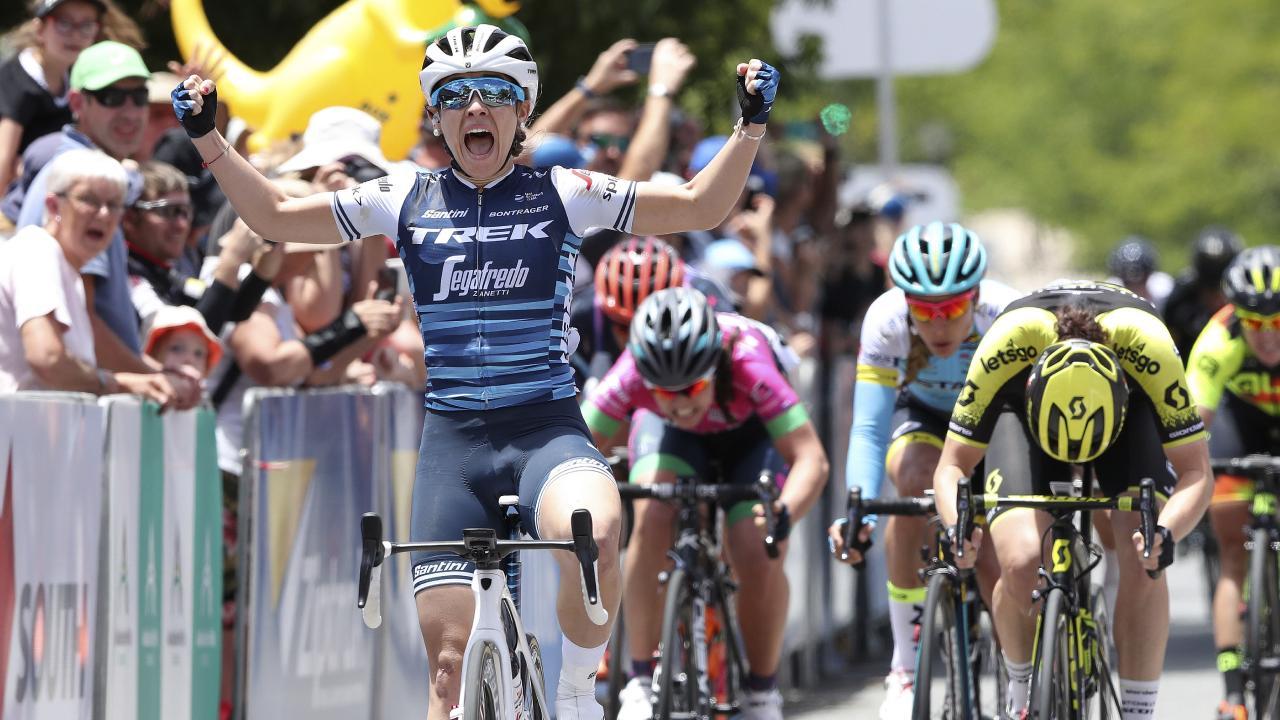 Trek-Segafredo Letizia Paternoster wins Stage 1 of the  Womens Santos Tour Down Under from Hahndorf to Birdwood.  Picture SARAH REED