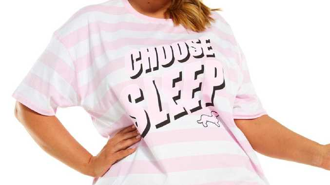 Peter Alexander is charging more for its 'Choose Sleep' nightie in plus sizes. Picture: Peter Alexander