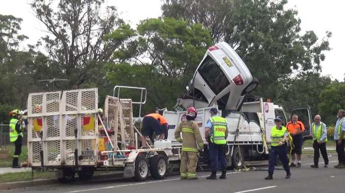 The driver was taken to Liverpool Hospital in a stable condition. Picture: TNV