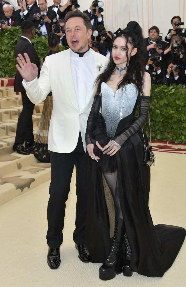 Elon Musk and Grimes, pictured together last May at the Met Gala. Picture: Getty Images