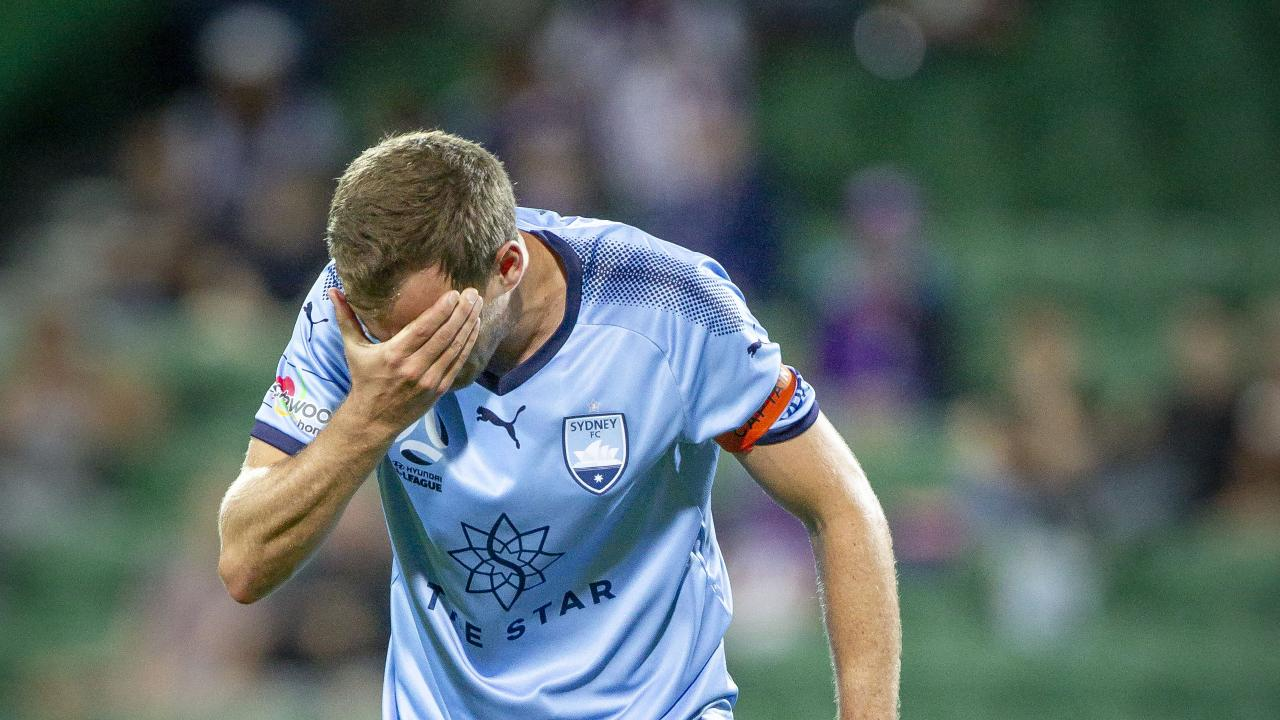 Alex Wilkinson shows his dismay after the final whistle of Sydney FC's 3-1 loss to Perth Glory. Picture: AAP