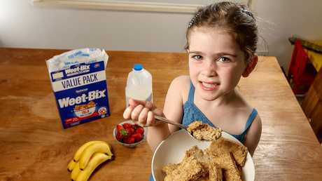 Iris Potter, 4, is a Weet-Bix kid. Picture: Tim Carrafa