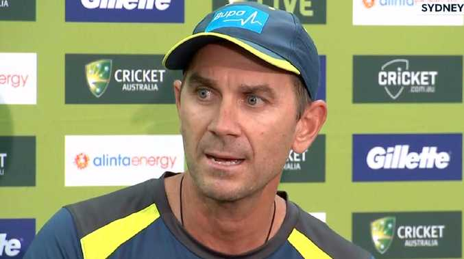 Justin Langer gets fiery during his press conference.