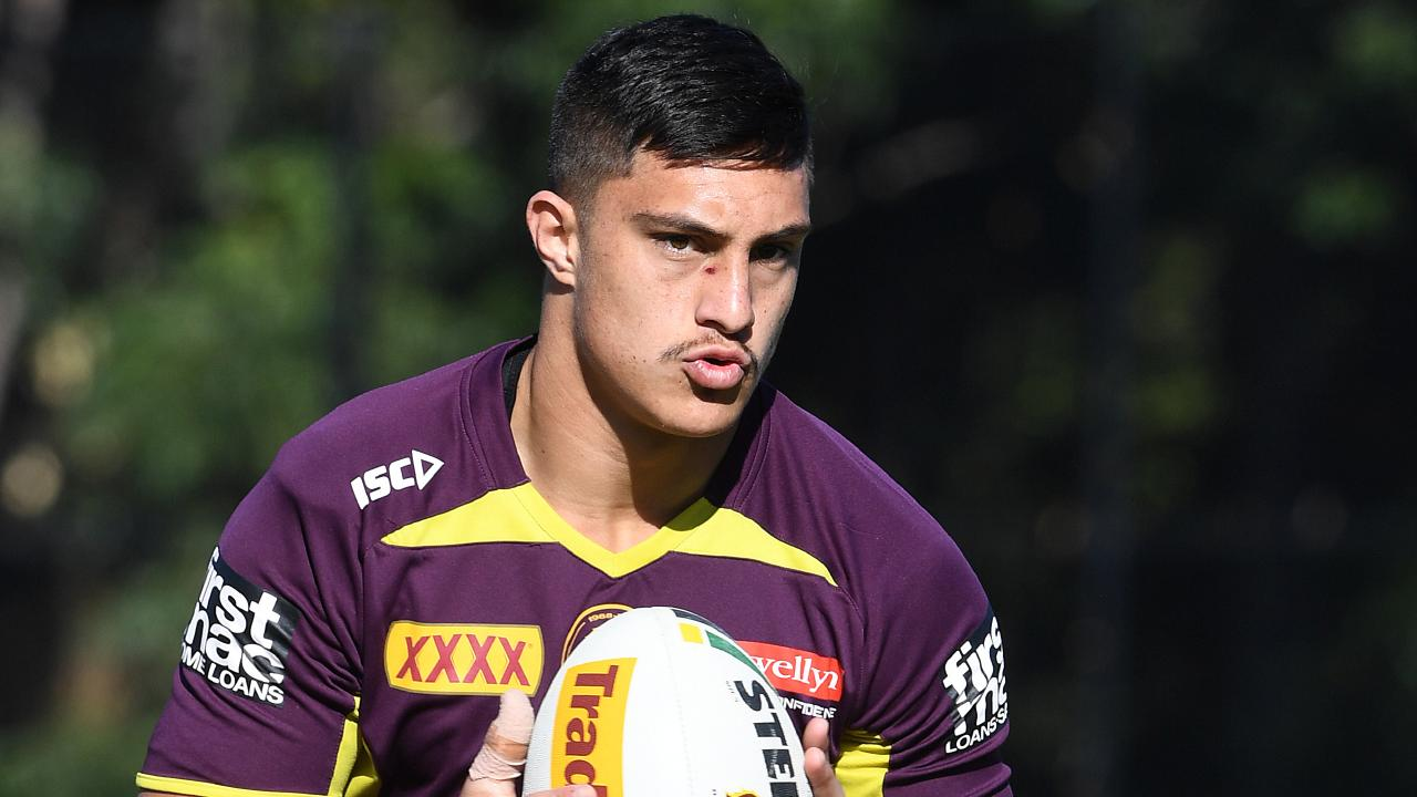 Kotoni Staggs during the Brisbane Broncos training session. Picture: AAP