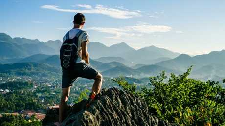 Taking in the view from Mt Phousi, above Luang Prabang in Laos.