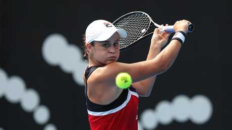 Ash Barty was a picture of concentration. Picture: Brett Costello