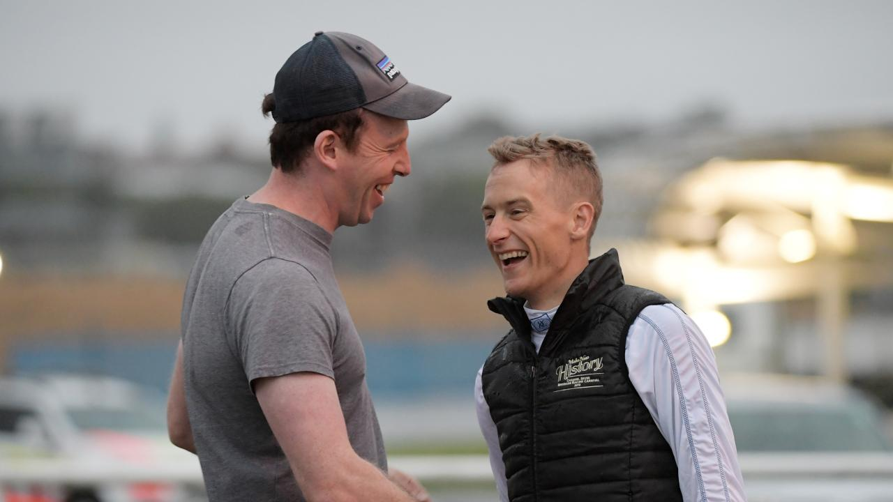 Blake Shinn (right) speaks to trainer Ed O'Rourke on his return to trackwork. Picture: Tracey Nearmy