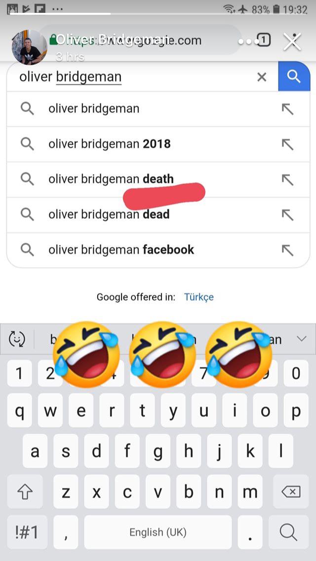 Screenshot of Oliver Bridgeman's Facebook story