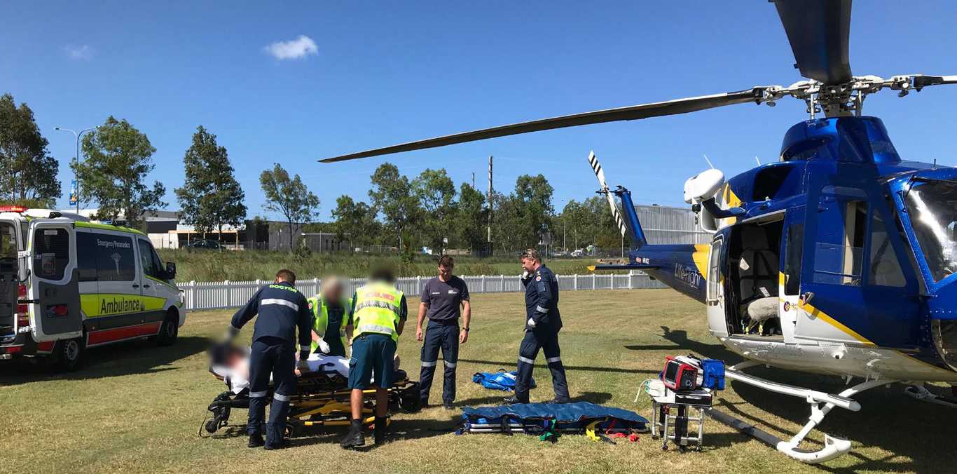 A man in his 40s was critically injured in the crash and airlifted to a Brisbane hospital in a serious condition.