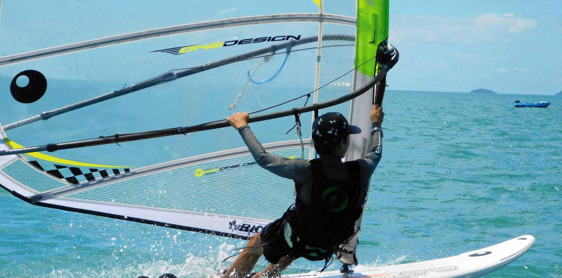 Hamish Swain on his sailboard.