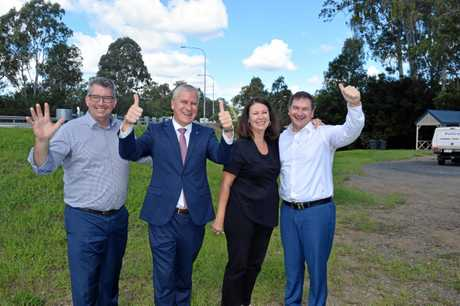 MP Keith Pitt, Deputy PM Michael McCormack, Gympie Times editor Shelley Strachan and MP Llew O'Brien celebrate the announcement of $800 million funding for Section D in April last year.